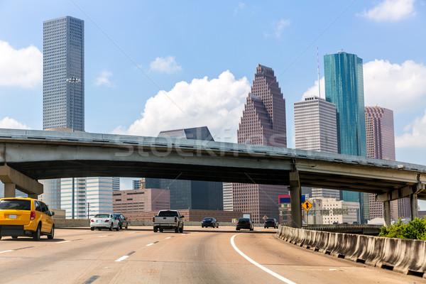 Houston skyline at Gulf Freeway I-45 Texas US Stock photo © lunamarina