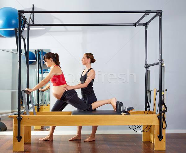 pregnant woman pilates reformer cadillac exercise Stock photo © lunamarina