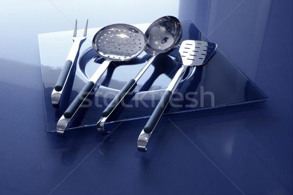 кухонные принадлежности кухне синий нержавеющая сталь таблице Сток-фото © lunamarina