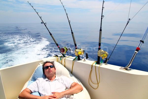 ストックフォト: 船乗り · 男 · 釣り · ボート · 夏休み