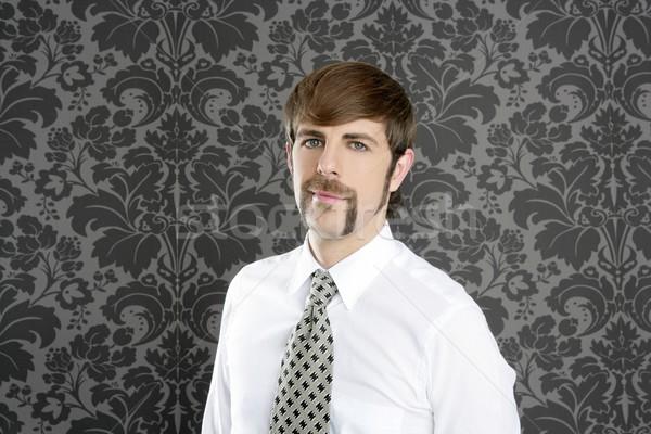 Сток-фото: бизнесмен · ретро · усы · серый · обои · галстук