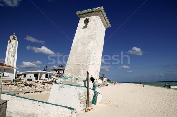 Mexico vuurtoren orkaan witte storm strand Stockfoto © lunamarina