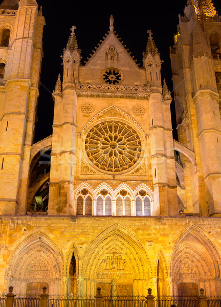 Cathedral of Leon in Castilla at Spain Stock photo © lunamarina