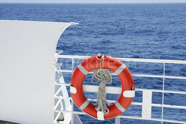 Seyir beyaz tekne tırabzan detay mavi Stok fotoğraf © lunamarina