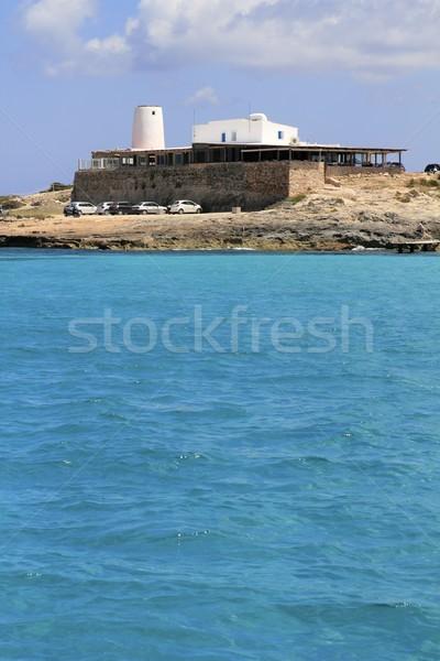 Illetes salt windmill from sea view Formentera Stock photo © lunamarina