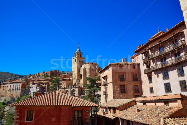 Médiévale ville Espagne village mur rue Photo stock © lunamarina