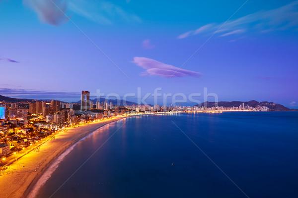 Strand zonsondergang Spanje middellandse zee hemel stad Stockfoto © lunamarina