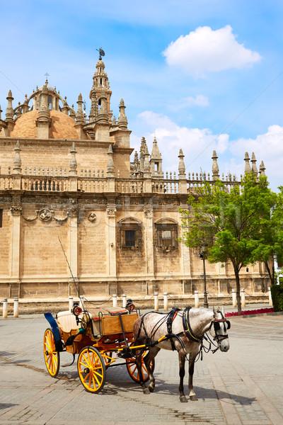 Seville cathedral facade of Sevilla Andalusia Stock photo © lunamarina