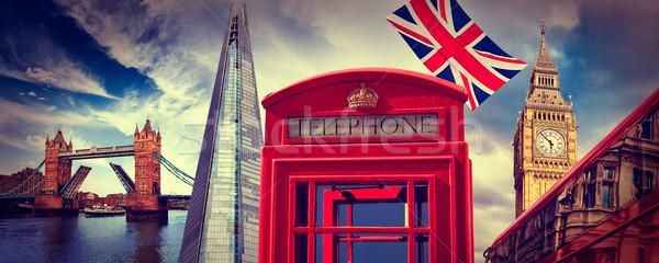 Londres téléphone boîte icône ciel bâtiment Photo stock © lunamarina