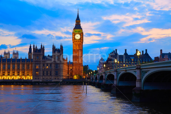 Big Ben Clock Tower London at Thames River Stock photo © lunamarina