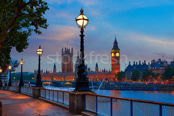 London sunset skyline Bigben and Thames Stock photo © lunamarina