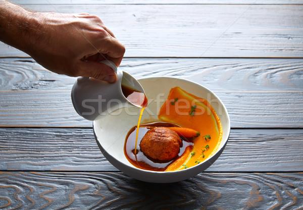 Dumpling of old cowtail with creamy carrot Stock photo © lunamarina