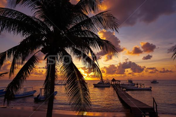 Puerto Morelos sunset in Riviera Maya Stock photo © lunamarina
