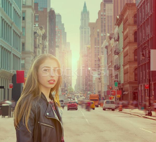 Teenager rock girl in New York street photomount Stock photo © lunamarina