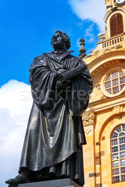 Martin Luther memorial near Frauenkirche Dresden Stock photo © lunamarina