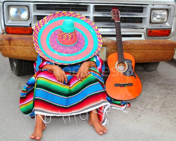 Lusta szieszta mexikói fickó alszik grunge Stock fotó © lunamarina