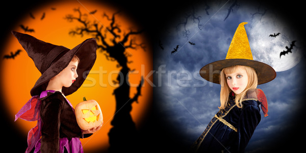 Halloween girls costumes in two backgrounds Stock photo © lunamarina