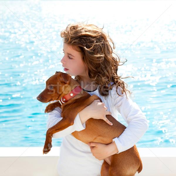 Zdjęcia stock: Brunetka · dziecko · dziewczyna · psa · morza · widoku