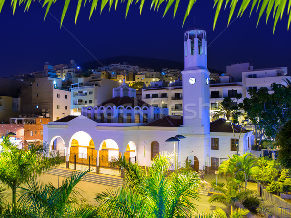 Los Cristianos night church in Tenerife Stock photo © lunamarina