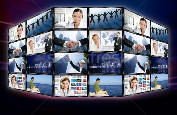 Futuristic tv video news digital screen wall Stock photo © lunamarina