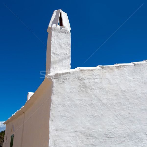 Biały dom komin szczegół domu niebieski kamień Zdjęcia stock © lunamarina