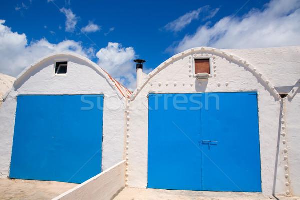 белый Средиземное море beach house пляж домой двери Сток-фото © lunamarina