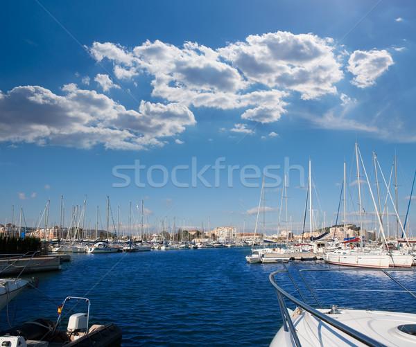 Denia Alicante marina boats in blue Mediterranean Stock photo © lunamarina