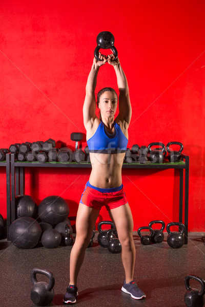 Kettlebell swing allenamento formazione donna palestra Foto d'archivio © lunamarina