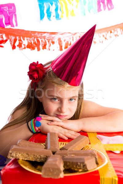 Sıkılmış sarışın çocuk kız parti jest Stok fotoğraf © lunamarina