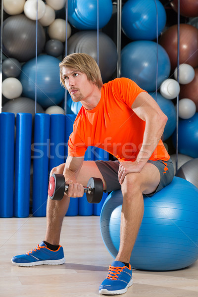 dumbbell concentrated biceps curl  man fitball Stock photo © lunamarina