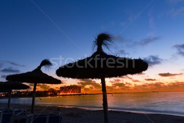 Pôr do sol praia mallorca Espanha paisagem Foto stock © lunamarina