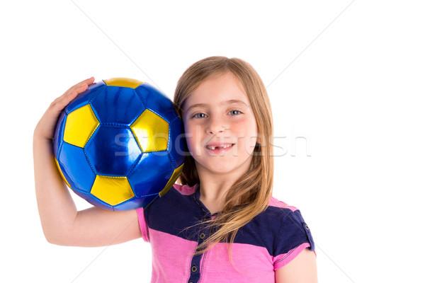 Football soccer kid girl happy player with ball Stock photo © lunamarina