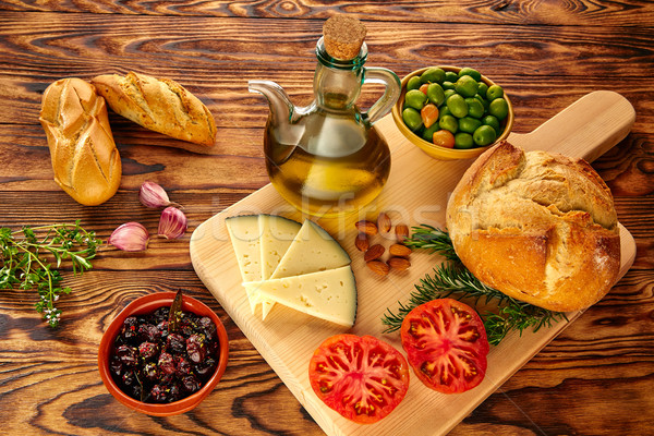 Mediterranean food bread oil olives cheese Stock photo © lunamarina