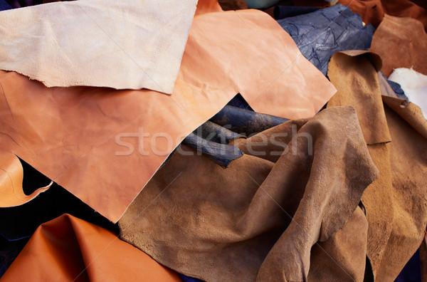 Skóry niechlujny mieszany materiały pracy włókienniczych Zdjęcia stock © lunamarina