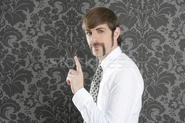 point finger retro businessman salesperson Stock photo © lunamarina