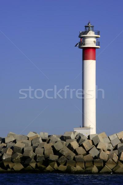 Zdjęcia stock: Latarni · Błękitne · niebo · Hiszpania · ocean · plaży · świetle