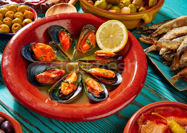 Tapas mejillones al vapor steamed mussels Stock photo © lunamarina