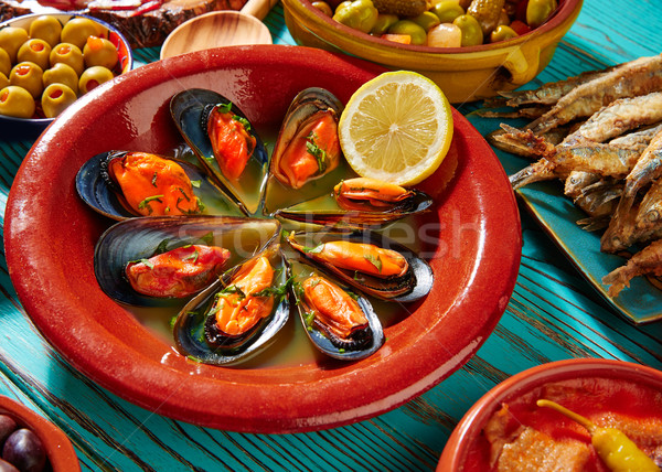Тапас пар рыбы обеда пластина Сток-фото © lunamarina