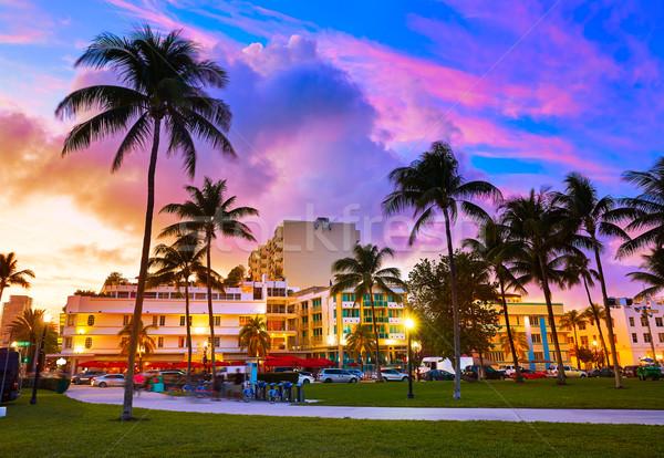 Miami sul praia pôr do sol oceano conduzir Foto stock © lunamarina