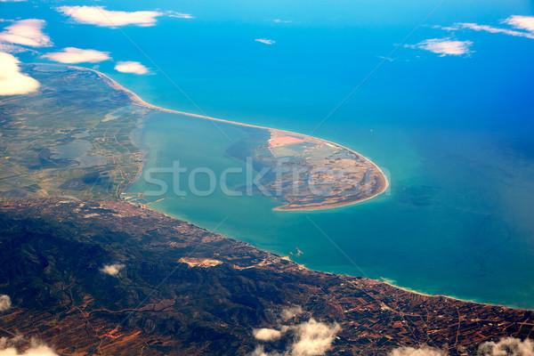 Légi delta folyó Spanyolország felhők tenger Stock fotó © lunamarina