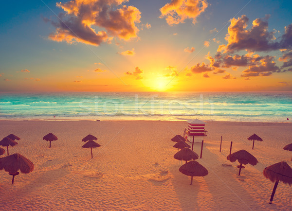 Stock photo: Cancun sunrise at Delfines Beach Mexico