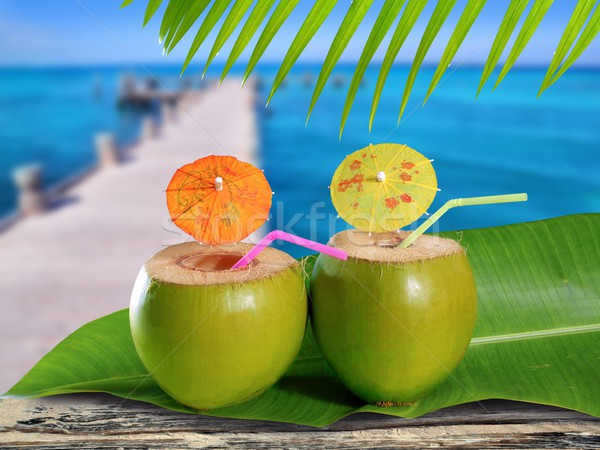 coconuts straw cocktails in tropical caribbean sea pier Stock photo © lunamarina