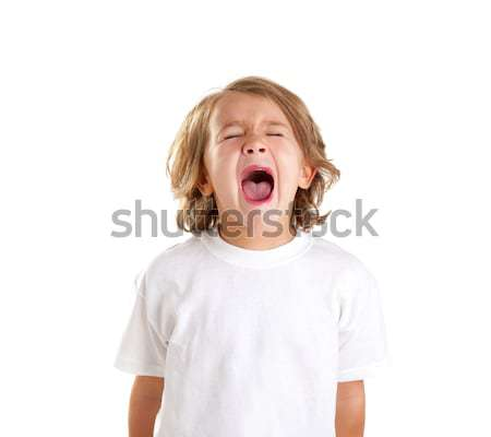 children kid screaming expression on white Stock photo © lunamarina