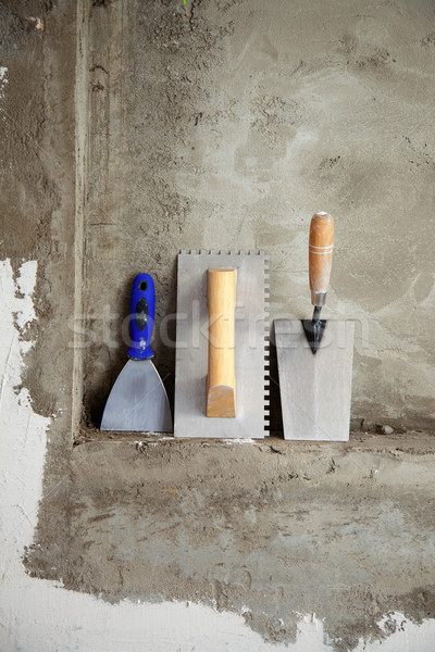 építkezés rozsdamentes acél szerszámok szedőlapát cement épület Stock fotó © lunamarina