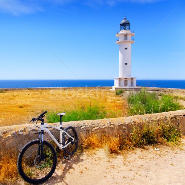 bicycle on Balearic Formentera Barbaria Lighthouse Stock photo © lunamarina