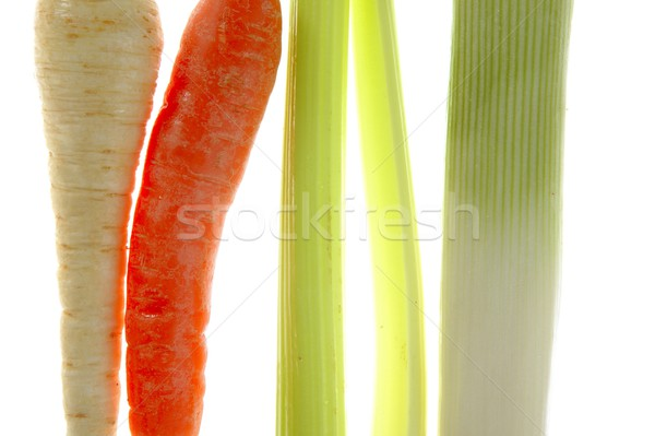 vegetables in a row, turnip, carrot, leek, thistle Stock photo © lunamarina