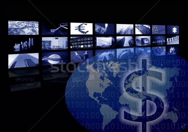 Iş kurumsal dünya haritası çoklu ekran mecaz Stok fotoğraf © lunamarina