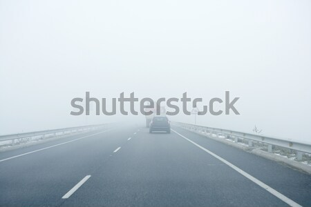Foggy gray road, cars driving into the fog Stock photo © lunamarina