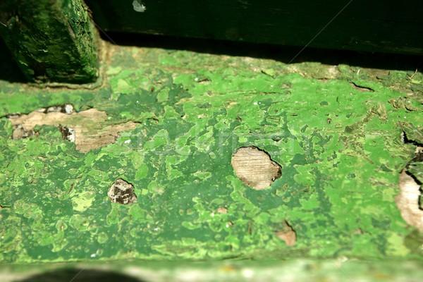 Green paint in wooden boat hull grunge aged Stock photo © lunamarina