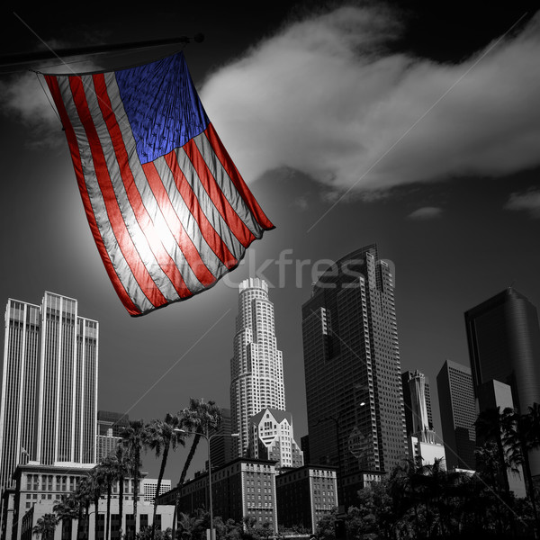 USA United States flag in black and white LA downtown  Stock photo © lunamarina